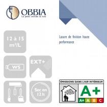 Pictogrammes de mise en oeuvre et certification(s) pour le Lasure de finition haute performance Obbia