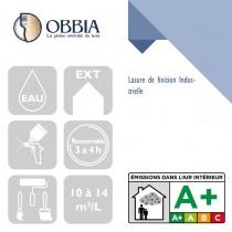 Pictogrammes de mise en oeuvre et certification(s) pour le Lasure de finition Industrielle Obbia