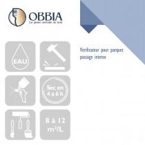 Pictogrammes de mise en oeuvre et certification(s) pour le Vitrificateur pour parquet passage intense Obbia