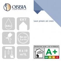 Pictogrammes de mise en oeuvre et certification(s) pour le Lasure primaire anti ciment Obbia