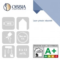 Pictogrammes de mise en oeuvre et certification(s) pour le Lasure primaire industrielle Obbia