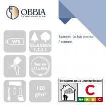 Pictogrammes de mise en oeuvre et certification(s) pour le Traitement du bois interieur / exterieur Obbia