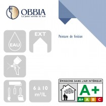 Pictogrammes de mise en oeuvre et certification(s) pour le Peinture de finition Obbia