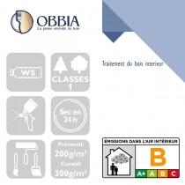 Pictogrammes de mise en oeuvre et certification(s) pour le Traitement du bois interieur Obbia