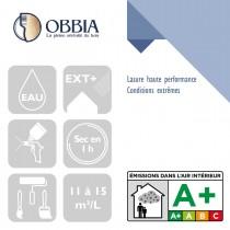 Pictogrammes de mise en oeuvre et certification(s) pour le Lasure haute performance Conditions extrêmes Obbia