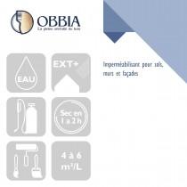 Pictogrammes de mise en oeuvre et certification(s) pour le Imperméabilisant pour sols murs et façades Obbia
