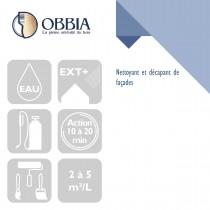 Pictogrammes de mise en oeuvre et certification(s) pour le Nettoyant et décapant de façades Obbia