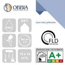 Pictogrammes de mise en oeuvre et certification(s) pour le Lasure haute performance Obbia