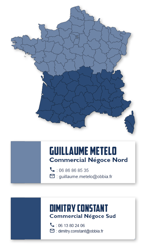 Répartition géographique des commerciaux pour le négoce